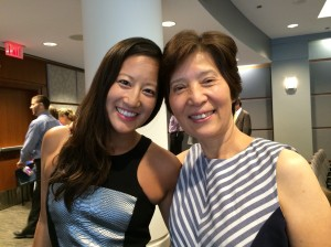 Jessica Chao, M.D.'12, with her mom at her general pediatrics graduation in the spring of 2014.