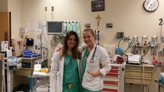 Sierra Trejos '17 (left) and Sarah Kelso '17 in the trauma room at St. Mary's Medical Center.