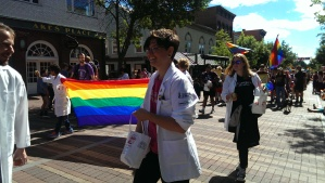 Larner College of Medicine students in the 2016 Burlington Pride Parade.