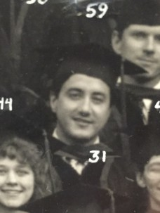 Michael Kaplan, M.D., with his class at graduation in 1987.