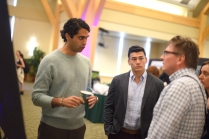 Ross Sayadi, M.D.'17, and Zach Ehret '20 answer questions about their project at the UVM Student Research Conference.