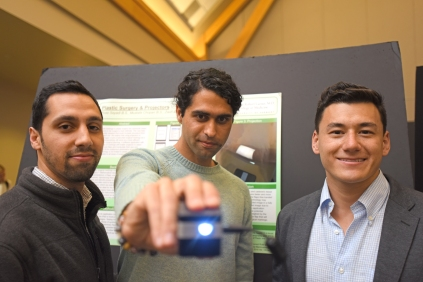 L to R: Mustafa Chopan, M.D.'17, Ross Sayadi, M.D.'17 and Zach Ehret '20 at the UVM Student Research Conference