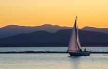 Lake Champlain Sailing at Sunset in Burlington Vermont